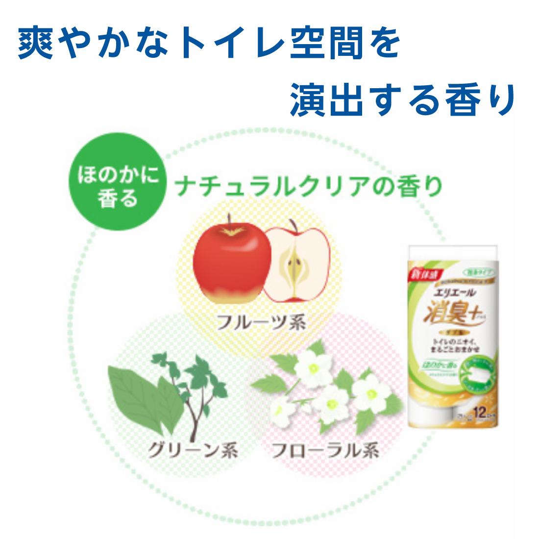 エリエール 消臭+トイレットティシュー ほのかに香る ナチュラルクリアの香り コンパクト8ロール(ダブル)